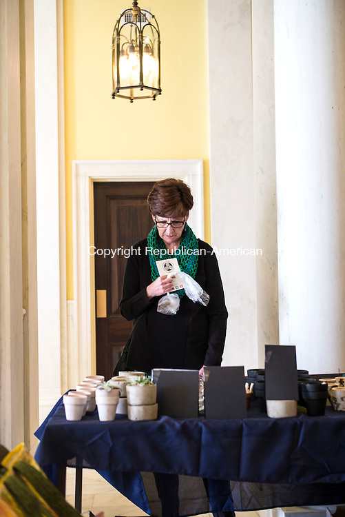 Waterbury, CT- 19 November 2016-111916CM01-  Kathy Roosa of Waterbury looks at cacti during the 4th annual Waterbury Artisans Marketplace at City Hall in Waterbury on Saturday.  The event, sponsored by the Waterbury Public Art Committee,  featured food trucks and artisans from Waterbury and the surrounding area.  Christopher Massa Republican-American