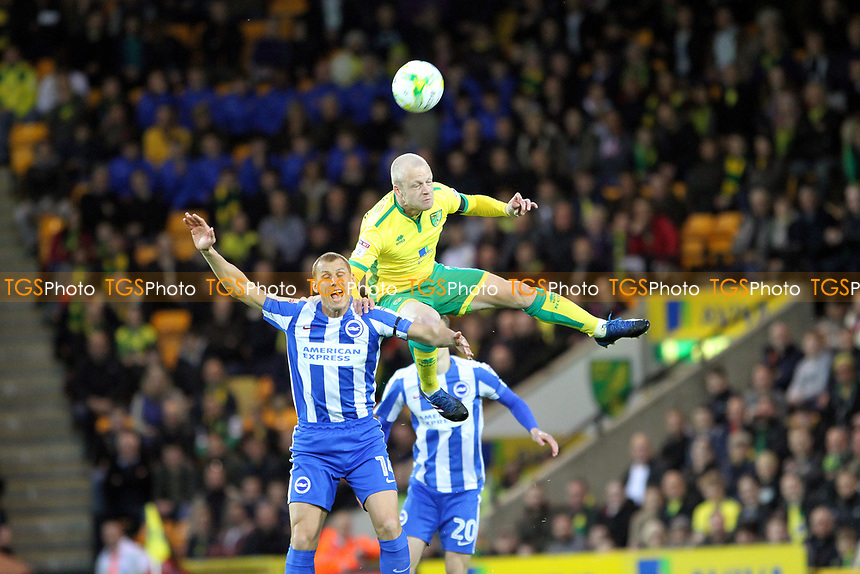 Steven Naismith of Norwich City gets to the aerial ball during Norwich City vs Brighton & Hove Albion, Sky Bet EFL Championship Football at Carrow Road on 21st April 2017