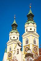 Italien, Suedtirol (Trentino-Alto Adige), Eisacktal, Brixen: Zwillingstuerme des Dom zu Brixen | Italy, South Tyrol (Trentino-Alto Adige), Bressanone: twin towers of Brixen Cathedral