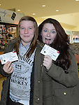 Natalia Kopczak and Jasmin Kerr with their One Direction tickets when they went on sale at CD World at the Drogheda Town Centre.