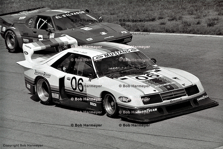 BRASELTON, GA - APRIL 10: Bobby Rahal drives the Ford Mustang Turbo in the Nissan Datsun 500k on April 10, 1983, at Road Atlanta near Braselton, Georgia.