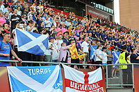 20170719 - UTRECHT , NETHERLANDS : Scottish fans during the national hymn pictured during the female soccer game between England and Scotland  , the frist game in group D at the Women's Euro 2017 , European Championship in The Netherlands 2017 , Wednesday 19 th June 2017 at Stadion De Galgenwaard  in Utrecht , The Netherlands PHOTO SPORTPIX.BE | DIRK VUYLSTEKE