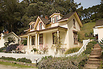 Restored officer's house, Angel Island State Park, in San Francisco Bay, CA, California.  People disembark and picnic at Ayala Cove, then hike, bike, or tram perimeter road, with stops at Civil War era Camp Reynolds, and its restored officer house, or Spanish American War era Fort McDowell..Photo camari250-70459..Photo copyright Lee Foster, www.fostertravel.com, 510-549-2202, lee@fostertravel.com.