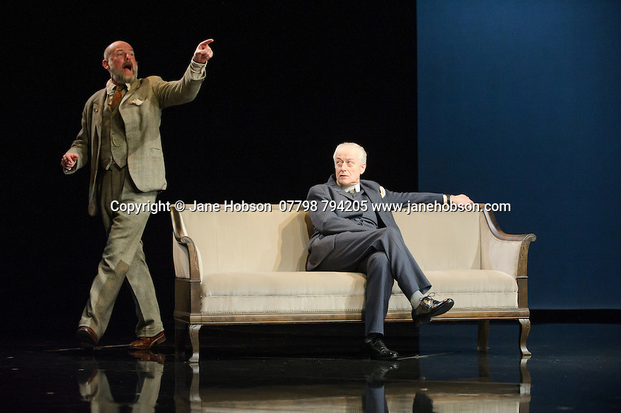 London, UK. 09.11.2015. WASTE, by Harley Granville Barker, directed by Roger Michell, opens at the National Theatre. Picture shows: Paul Hickey (Justin O'Connell), Gerrard McArthur (Lord Charles Cantilupe). Photograph © Jane Hobson.