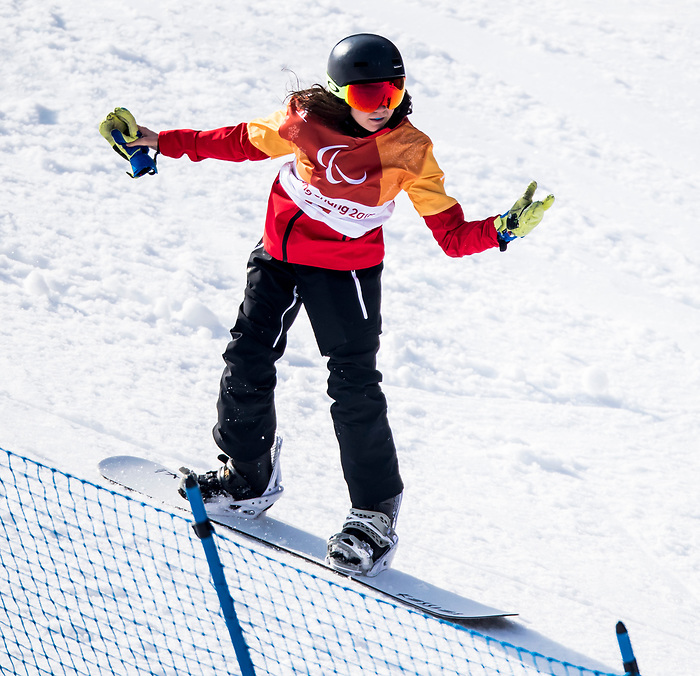 PyeongChang 10/3/2018 - Sandrine Hamel during a snowboard cross training session at the Jeongseon Alpine Centre during the 2018 Winter Paralympic Games in Pyeongchang, Korea. Photo: Dave Holland/Canadian Paralympic Committee