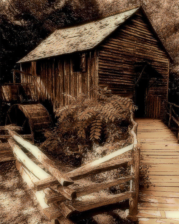 Image of Cable Mill in Cades Cove, Great Smoky Mountains National Park. Antiqued and faux painting in Photoshop. Smoky Mountain photos by Gordon and Jan Brugman.