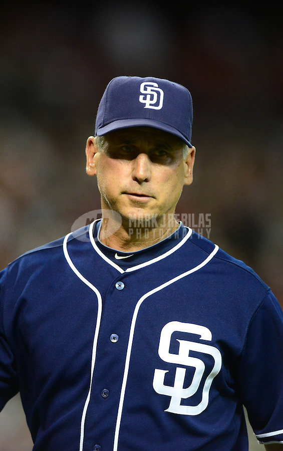 Jul. 3, 2012; Phoenix, AZ, USA: San Diego Padres manager Bud Black in the fourth inning against the Arizona Diamondbacks at Chase Field. Mandatory Credit: Mark J. Rebilas-
