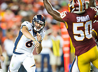 Landover, MD - August 24, 2018: Denver Broncos quarterback Chad Kelly (6) throws from the pocket during preseason game between the Denver Broncos and Washington Redskins at FedEx Field in Landover, MD. The Broncos defeat the Redskins 29-17. (Photo by Phillip Peters/Media Images International)