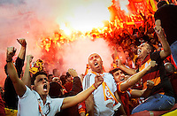 Galatasaray's supporters celebrate after Didier Drogba scored against Juventus during their Champions League soccer match at the Juventus stadium in Turin October 2, 2013.