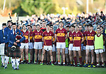 The Miltown team stand for the anthem before the county senior football final at Cusack Park. Photograph by John Kelly.