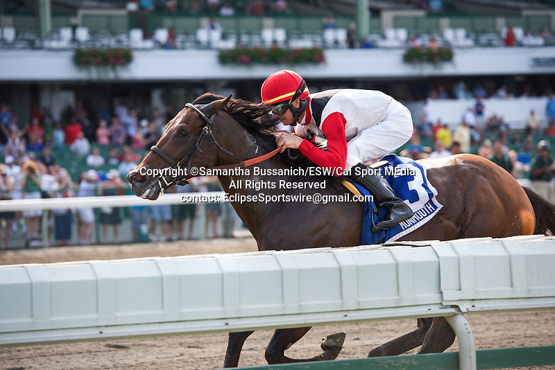 July 05 2015: Bradester with Eddie Kenneally win the Grade III Salvator Mile Stakes for 3-year olds, going 1 mile at Monmouth Park.  Trainer Corey Lanerie. Owner Joseph Sutton. Samantha Bussanich/ESW/CSM