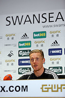 Friday 11 April 2014<br /> Pictured: Head coach Garry Monk.<br /> Re: Swansea City FC press conference at the Liberty Stadium ahead of this Sunday's Barclay's Premier League game against Chelsea