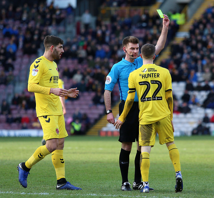 Fleetwood Town's Ashley Hunter is booked for simulation by Referee Ollie Yates<br /> <br /> Photographer David Shipman/CameraSport<br /> <br /> The EFL Sky Bet League One - Bradford City v Fleetwood Town - Saturday 9th February 2019 - Valley Parade - Bradford<br /> <br /> World Copyright &copy; 2019 CameraSport. All rights reserved. 43 Linden Ave. Countesthorpe. Leicester. England. LE8 5PG - Tel: +44 (0) 116 277 4147 - admin@camerasport.com - www.camerasport.com