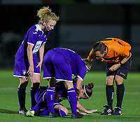 20190920 – LEUVEN, BELGIUM : RSC Anderlecht's Laura-Roxana Rus is pictured on the floor during a women soccer game between Dames Oud Heverlee Leuven A and RSC Anderlecht Ladies on the fourth matchday of the Belgian Superleague season 2019-2020 , the Belgian women's football  top division , friday 20 th September 2019 at the Stadion Oud-Heverlee Korbeekdam in Oud Heverlee  , Belgium  .  PHOTO SPORTPIX.BE   SEVIL OKTEM