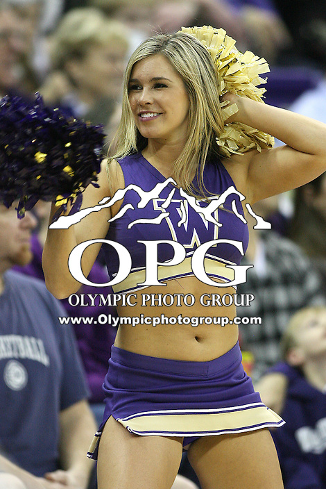 Feb 10, 2011:  Washington cheerleader Piper Hanke entertained the crowed during the game against California.  Washington defeated California at Hec Ed Seattle, Washington.