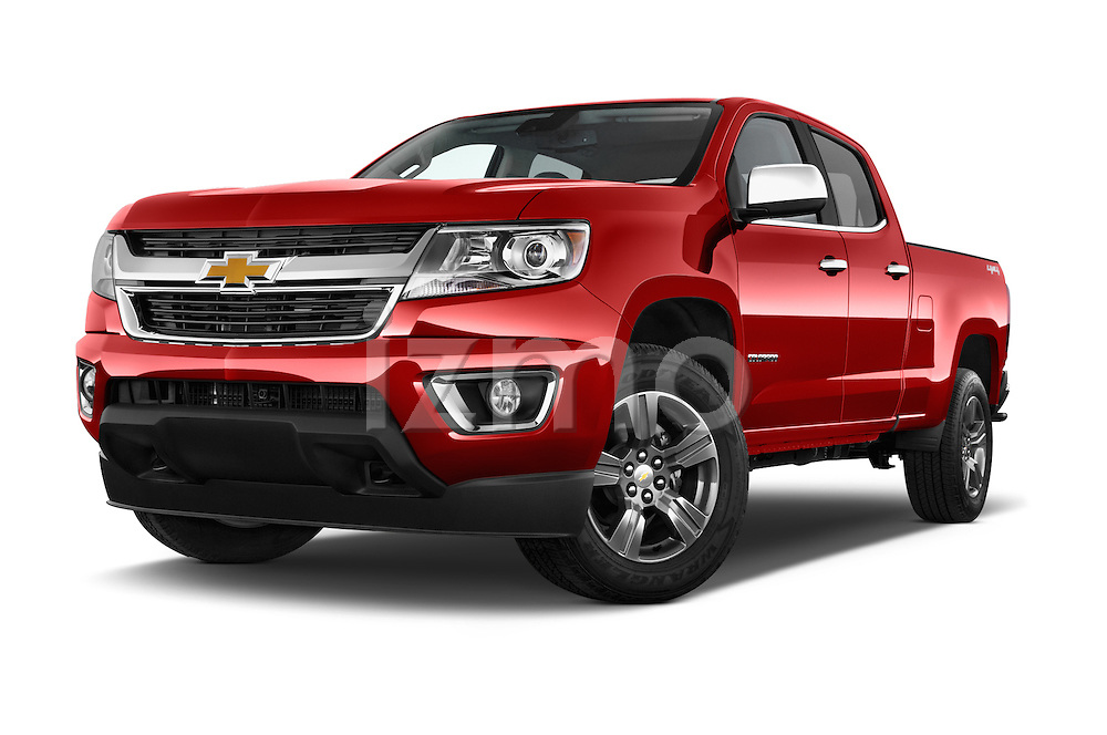 Stock pictures of low aggressive front three quarter view of a 2015 Chevrolet Colorado LT Crew Cab Long Box 4 Door Truck Low Aggressive