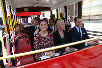 Victoria, Crown Princess of Sweden and  Duchess of V&auml;sterg&ouml;tland and her husband Daniel  ride a small touristic train during a visit to the historic district of downtown Lima, Peru, October 20 2015. The Princess is in the second day of her visit to Peru .<br /> <br /> <br /> Foto Geraldo Caso/Archivolatino/Astufoto