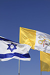 Flags of Israel and the Vatican at the Welcoming Ceremony for Pope Francis at Ben Gurion Airport