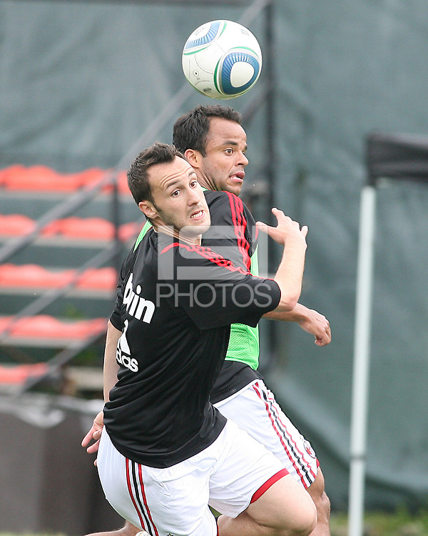 Mancini and Massimo Oddo of AC Milan during a practice session at RFK practice facility in Washington DC on May 24 2010.