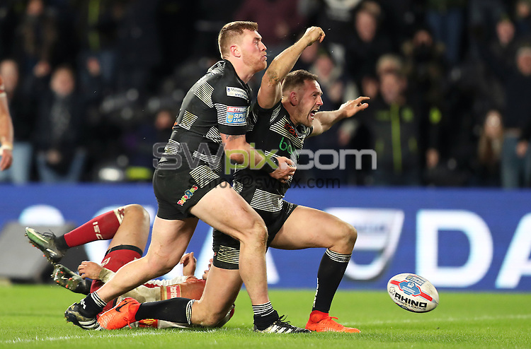 Picture by John Clifton/SWpix.com - 23/02/2017 - Rugby League - Betfred Super League - Hull FC v Catalans Dragons - KC Stadium, Kingston upon Hull, England -<br />Liam Watts of Hull FC celebrates scoring his teams second try Scott Taylor