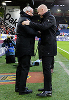 Burnley manager Sean Dyche shakes hands with Fulham manager Claudio Ranieri before kick off<br /> <br /> Photographer Alex Dodd/CameraSport<br /> <br /> The Premier League - Burnley v Fulham - Saturday 12th January 2019 - Turf Moor - Burnley<br /> <br /> World Copyright © 2019 CameraSport. All rights reserved. 43 Linden Ave. Countesthorpe. Leicester. England. LE8 5PG - Tel: +44 (0) 116 277 4147 - admin@camerasport.com - www.camerasport.com