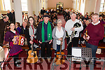 Musicians at the Éigse na Brídeoige concert in Séipéal Naomh Mhichíl Baile 'n Sceilg, featuring material from the Binneas Collection of Iveragh music and song with musicians Rosaleen Mullarkey, Selena Ní Chonaill , Tim Dennehy,  Marion O'Neill,  Stephen Scales, Peter Mullarkey and missing from photo Seán Garvey.