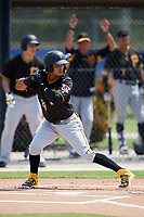 Pittsburgh Pirates shortstop Adrian Valerio (29) at bat during a Florida Instructional League game against the Toronto Blue Jays on September 20, 2018 at the Englebert Complex in Dunedin, Florida.  (Mike Janes/Four Seam Images)