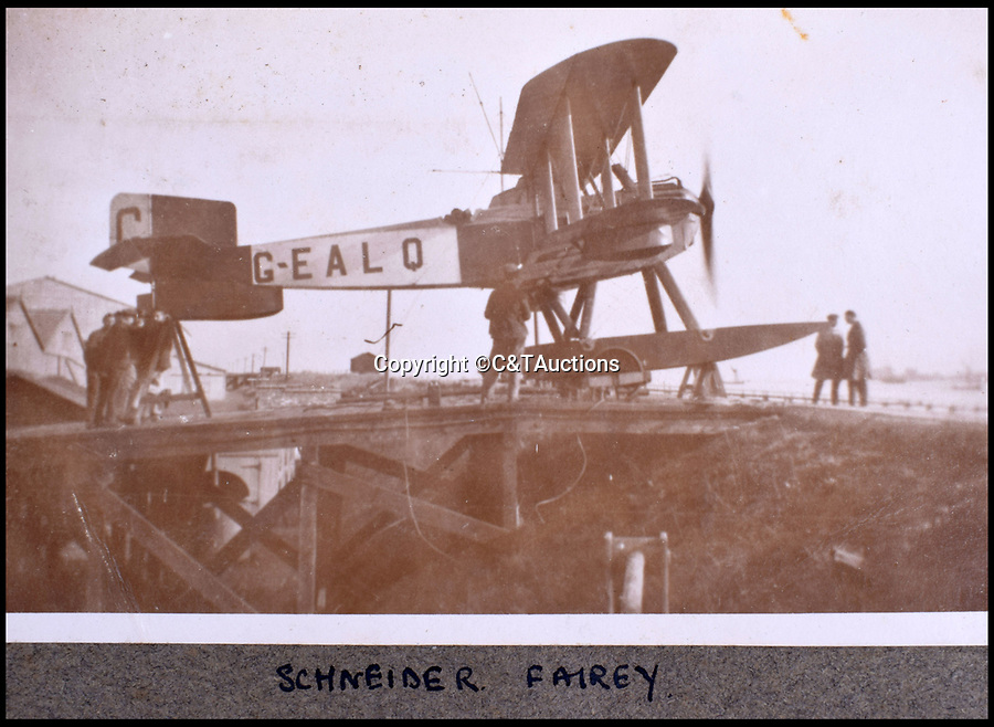 BNPS.co.uk (01202 558833)<br /> Pic: C&TAuctions/BNPS<br /> <br /> This Fairy III biplane took part in the 1919 Schneider Trophy air speed races.<br /> <br /> A fascinating photo album which documents the adventures of a captain in the fledgling Royal Naval Air Service has been unearthed after 100 years.<br /> <br /> The photos were compiled by Captain Denis Carey who was based in Maidstone, Kent, and they provide a fascinating insight into the air arm of the Royal Navy during the First World War.<br /> <br /> They show the thrills and spills of the pioneering early days of aviation in a world before health and safety had been invented.