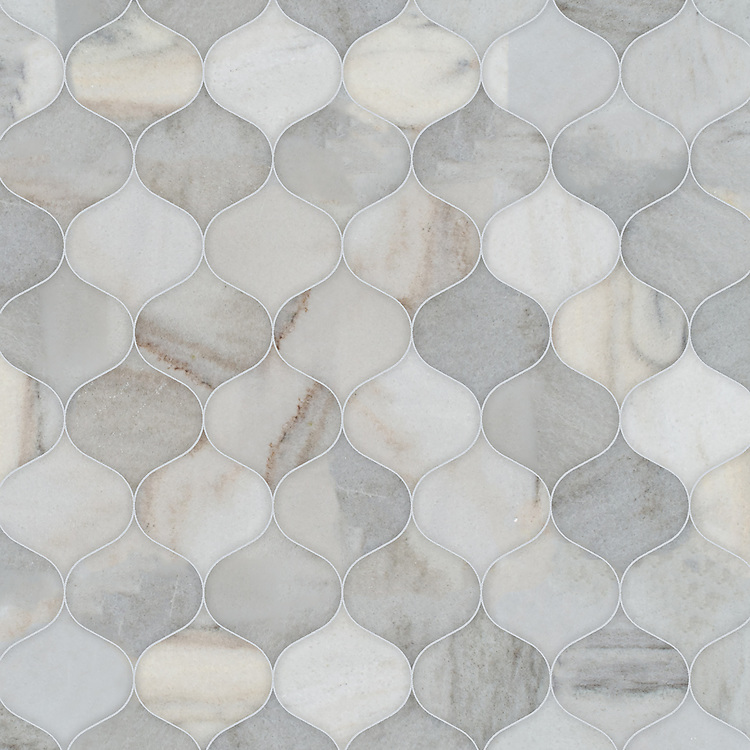 Odile, a waterjet stone mosaic,shown in honed Angora, is part of the Semplice® collection for New Ravenna.