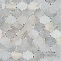 Odile, a waterjet stone mosaic,shown in honed Angora, is part of the Semplice™ collection for New Ravenna.