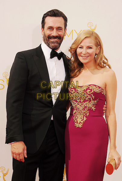 LOS ANGELES, CA- AUGUST 25: Actor Jon Hamm (L) and actress Jennifer Westfeldt arrive at the 66th Annual Primetime Emmy Awards at Nokia Theatre L.A. Live on August 25, 2014 in Los Angeles, California.<br /> CAP/ROT/TM<br /> &copy;Tony Michaels/Roth Stock/Capital Pictures