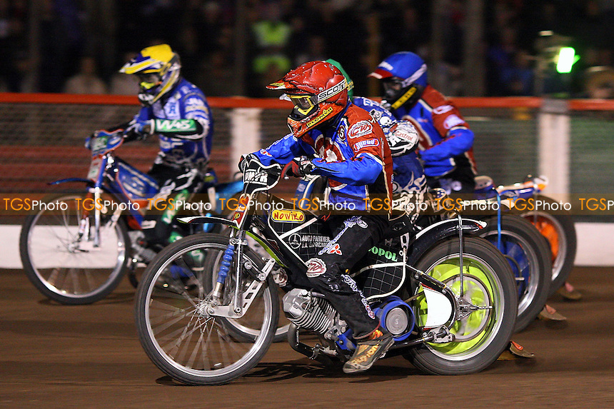 Heat 11: Jedrzejak (red), Holder (green), Krzysztof Jablonski (blue) and Magnus Zetterstrom- Lakeside Hammers vs Poole Pirates - Sky Sports Elite League Play-Off Grand Final, First Leg at Arena Essex, Purfleet - 06/10/08 - MANDATORY CREDIT: Gavin Ellis/TGSPHOTO - Self billing applies where appropriate - 0845 094 6026 - contact@tgsphoto.co.uk - NO UNPAID USE.
