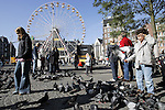 AMSTERDAM - NETHERLANDS - 19 OCTOBER 2004 --  The Dam square in the city centre. In front of the municipality building is a small amusement park with a ferris wheel as the main attraction. Wulf (R) a young eight year old boy though prefers to feed the pigeons on the square. -- PHOTO:  EUP-IMAGES / JUHA ROININEN