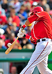 26 September 2010: Washington Nationals infielder Ian Desmond connects with the ball being compressed on contact during game action against the Atlanta Braves at Nationals Park in Washington, DC. The Nationals defeated the pennant-seeking Braves 4-2 to take the rubber match of their 3-game series. Mandatory Credit: Ed Wolfstein Photo
