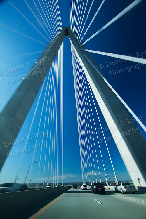 Driving over the Arthur Ravenel Jr. Bridge over the Cooper River in Charleston South Carolina
