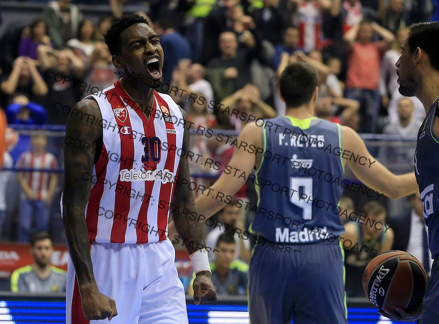 Kosarka Euroleague season 2015-2016<br /> Euroleague <br /> Crvena Zvezda v Real Madrid<br /> Quincy Miller celebrate<br /> Beograd, 27.11.2015.<br /> foto: Srdjan Stevanovic/Starsportphoto &copy;