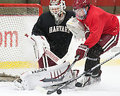 Raphael Girard (Harvard - 30), Jimmy Vesey (Harvard - 19) - The Harvard University Crimson practiced on Friday, October 22, 2013, at Bright-Landry Hockey Center in Cambridge, Massachusetts.