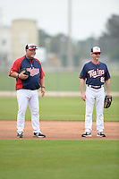 Manager Ron Gardenhire (35) of the Minnesota Twins with Rochester Red Wings manager Gene Glynn (89) during practice on February 25, 2014 at Hammond Stadium in Fort Myers, Florida.  (Mike Janes Photography)