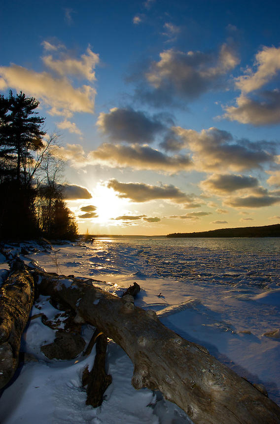 The sun beginning to set over Munising Bay. Munising, MI