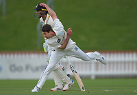 Otago's Travis Muller bowls on day one of the Plunket Shield cricket match between the Wellington Firebirds and Otago Volts at Basin Reserve in Wellington, New Zealand on Monday, 21 October 2019. Photo: Dave Lintott / lintottphoto.co.nz