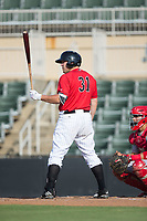 Jake Burger (31) of the Kannapolis Intimidators at bat against the Hagerstown Suns at Kannapolis Intimidators Stadium on July 9, 2017 in Kannapolis, North Carolina.  The Intimidators defeated the Suns 3-2 in game two of a double-header.  (Brian Westerholt/Four Seam Images)