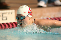 STANFORD, CA - FEBRUARY 13:  Rebecca Hinds of the Stanford Cardinal during Stanford's 167-131 win over California at the Avery Aquatic Center on February 13 , 2010 in Stanford, California.