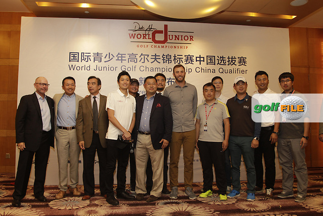 Dustin Johnson at the press conference for the launch of the DJ World Junior Golf Championship China Qualifer, in Le Meridien Hotel, Sheshan, Shanghai China.<br /> Picture Fran Caffrey | Golffile
