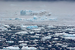 Alaska, Prince William Sound, Columbia Bay, Columbia Glacier icebergs, bergy bits, brash ice, the continuing calving of the glacier fills Columbia Bay in an impassable slurry of ice, in bad weather.