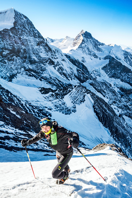 Ueli Steck climbing the Eiger West Flank in the winter of 2016/2017 during a long stretch of sunny, dry weather. Ueli is training for his next Himalayan project.