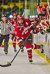 14 December 2013: Saint Lawrence University Saint Defenseman Justin Baker, a Senior from Toronto, Ontario, in third period action against the University of Vermont Catamounts at Gutterson Fieldhouse in Burlington, Vermont. The Catamounts defeated their former ECAC rivals, 5-1 to notch their 5th straight win in NCAA non-divisional play. Mandatory Credit: Ed Wolfstein Photo *** RAW (NEF) Image File Available ***