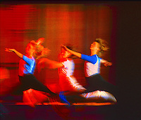 Dancers. Abstract action color image. Digitally enhanced photograph. Three Dancers.