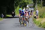 Dan Martin (Garmin-Sharp) leads the chase group climbing Piggery Hill on the 2nd lap during the Irish National Men's Elite Road Race Championships held over an undulating course featuring 9 laps centered in the village of Multyfarnham, Co.Westmeath, Ireland. 29th June 2014.<br /> Picture: Eoin Clarke www.newsfile.ie