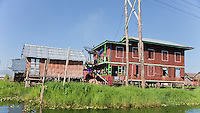 Myanmar, Burma.  Houses on Stilts, with TV Satellite Dish, Inle Lake Village, Shan State.