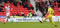 Fleetwood Town's Ashley Hunter scores his side's fourth goal <br /> <br /> Photographer David Shipman/CameraSport<br /> <br /> The EFL Sky Bet League One - Doncaster Rovers v Fleetwood Town - Saturday 6th October 2018 - Keepmoat Stadium - Doncaster<br /> <br /> World Copyright © 2018 CameraSport. All rights reserved. 43 Linden Ave. Countesthorpe. Leicester. England. LE8 5PG - Tel: +44 (0) 116 277 4147 - admin@camerasport.com - www.camerasport.com